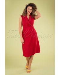 Closet 60s Lapel Wrap Dress - Rood