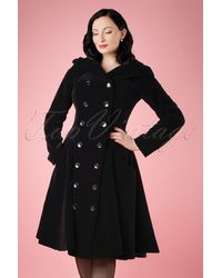 Collectif Clothing 50s Heather Hooded Quilted Velvet Coat - Zwart