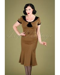Stop Staring! 40s Raileen Polkadot Pencil Dress - Naturel