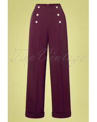 Banned Retro 40s Day To Night Button Trousers - Rood