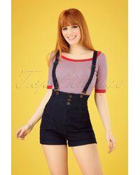 Collectif Clothing 50s Nomi Dungaree Shorts - Blauw
