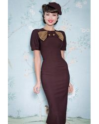 Stop Staring! 40s Penny Pencil Dress - Bruin