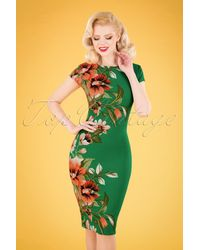 vintage chic for topvintage 60s Aloha Tropical Floral Pencil Dress - Groen