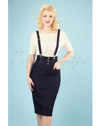 Collectif Clothing 50s Nomi Denim Dungaree Pencil Skirt - Blauw