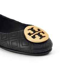 Tory Burch Black/gold Quilted Minnie Ballerinas