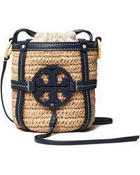 Tory Burch Miller Straw Mini Bucket Bag - Blue
