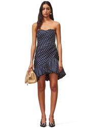 Tory Burch Strapless Silk Jacquard Ruched Party Dress - Blue