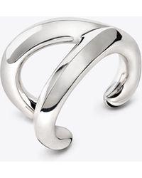 Tory Burch - Sterling Silver Wishbone Cuff - Lyst