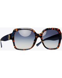 Tory Burch Reva Oversized Square Sunglasses - Blue