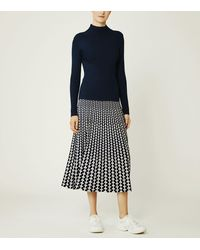 Tory Sport Pleated Jacquard Tech Knit Skirt - Blue