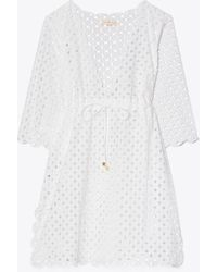 Tory Burch Broderie Anglaise Beach Tunic Coverup - White
