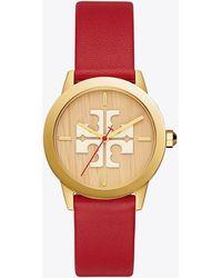 Tory Burch - Gigi Watch, Red Leather/gold Tone, 36 X 42 Mm - Lyst