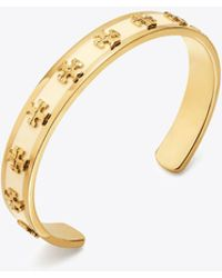 Tory Burch Enamelled Raised-logo Cuff - Metallic