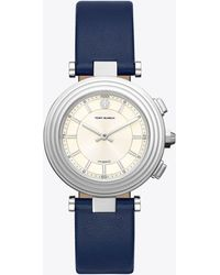 Tory Burch Classic T Hybrid Smartwatch, Stainless Steel/cream 36 X 46 Mm - Blue