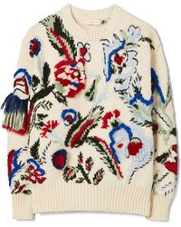 Tory Burch Hand-knit Intarsia Embroidered Jumper - Blue
