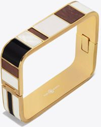 Tory Burch - Enameled Rectangular Hinged Bracelet - Lyst