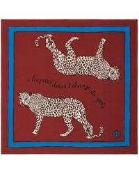 Tory Burch A Leopard Never Changes Its Spots Silk Scarf - Red