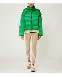 Tory Sport Cropped Performance Satin Down Jacket - Green