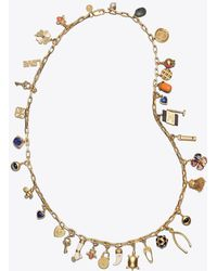Tory Burch - Long Charm Statement Necklace - Lyst