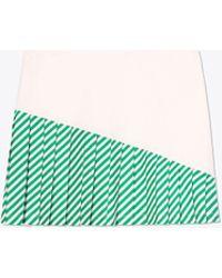 Tory Sport Striped Pleated-hem Skirt - Green