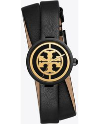 Tory Burch Reva Double Wrap Leather Strap Watch - Black