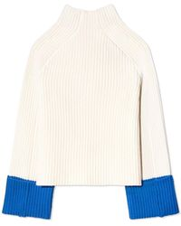 Tory Sport Merino Contrast-cuff Jumper - Multicolour