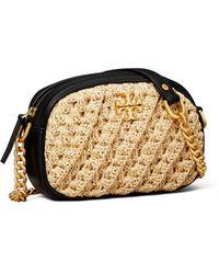 Tory Burch Kira Crochet Raffia Crossbody Camera Bag - Natural