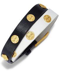 Tory Burch - Color-block Double-wrap Logo Stud Bracelet - Lyst