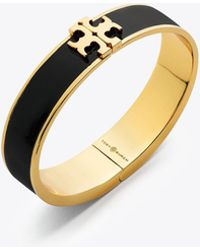 Tory Burch - Raised Logo Enamel Hinged Bracelet In Metallic Coated Brass And Black Enamel - Lyst