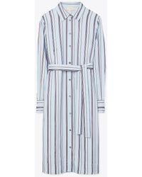 Tory Burch Striped Long-sleeve Shirtdress - Blue