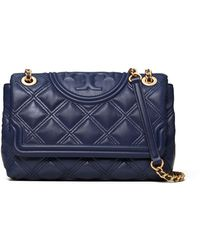 Tory Burch Fleming Soft Convertible Leather Shoulder Bag - Blue