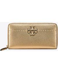 2e268a5db738 Lyst - Tory Burch Mcgraw Metallic Leather Bi-fold Wallet in Metallic