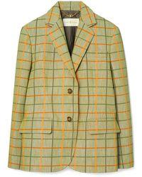 Tory Burch Plaid Blazer - Green