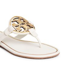 Tory Burch - Miller Metal-logo Sandals, Leather - Lyst