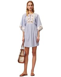Tory Burch Stripe-print Floral Print-trim Cotton Mini Dress - Blue