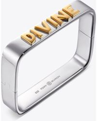 Tory Burch - Sterling Silver Message Bracelet - Lyst