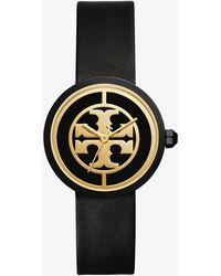 Tory Burch - Reva Leather 36mm Black/gold - Lyst