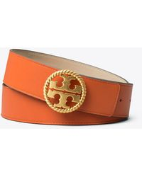 "Tory Burch 1 1/2"" Twisted Logo Belt - Orange"