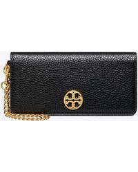 Tory Burch Chelsea Pebbled Leather Wristlet - Black