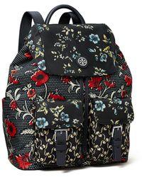 Tory Burch Mixed-print Nylon Flap Backpack - Black