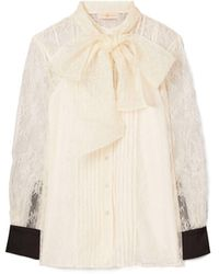 Tory Burch Chantilly Lace Bow Blouse - Multicolor