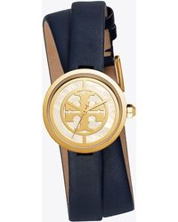 Tory Burch - Reva Double-wrap Watch, Navy Leather/gold-tone, 29 Mm - Lyst