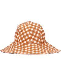 Tory Burch Gingham Reversible Bucket Hat - Brown