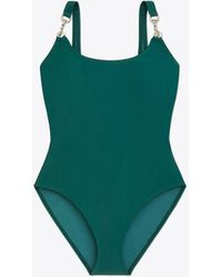 Tory Burch Clip Tank Swimsuit - Green