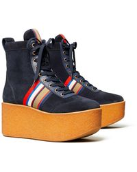 Tory Burch Striped High-top Platform Trainers Boots - Blue