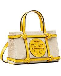 Tory Burch Ella Micro Tote Bag Aus Canvas In Quadrantoptik - Gelb