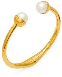 Tory Burch - Logo Crystal-pearl Hinged Bracelet - Lyst