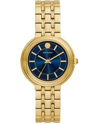 Tory Burch Bailey Watch, Gold-Tone Stainless Steel/Gold Tone/Navy, 34 Mm - Mettallic