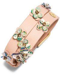 Tory Burch - Opalescent Leather Double-wrap Bracelet - Lyst
