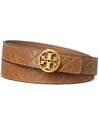Tory Burch Logo Monogram Embossed Leather Belt - Blue